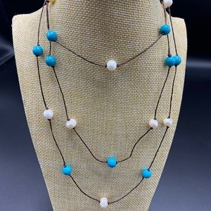 Jewelry - Fresh Water Pearls Turquoise Necklace coan114